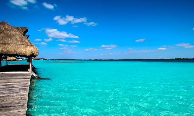 Perfect holyday spot to swim at Bacalar Lagoon