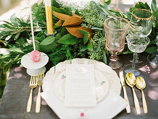 Vintage Place-Settings and Linens at our Notebook Inspired Photo Shoot | by Sweet Lauren Cakes