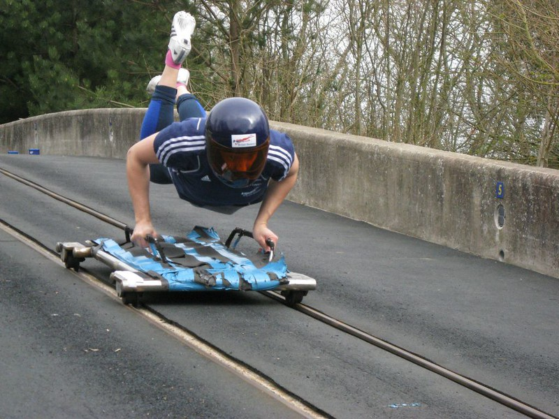 a person on a skeleton bobsleigh