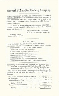 Greenock and Ayrshire Railway director's report 1868   by ian.dinmore