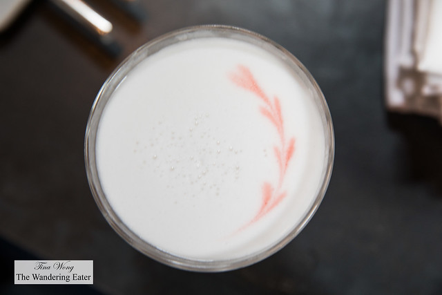 Irish Goodbye (top view) - Glendalough gin, lemon, almond, rose, egg white, vermouth, black pepper