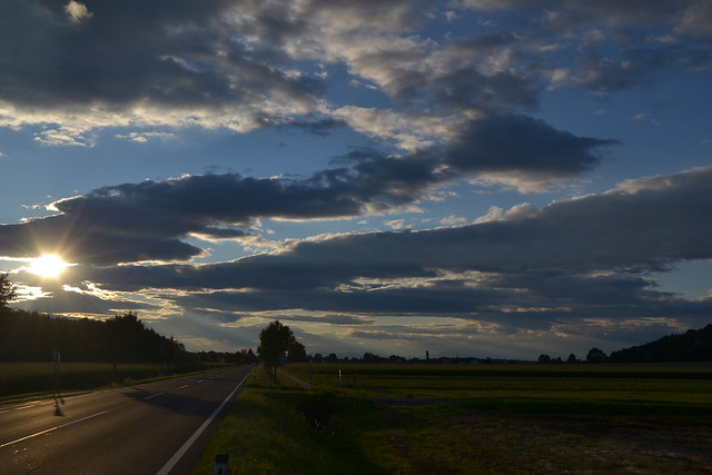 On a road in Burgenland, Austria during sunset