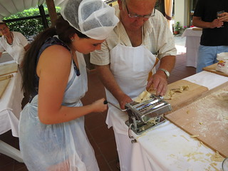 Mary works the pasta machine