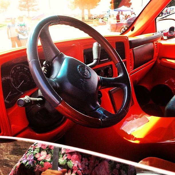 orange #Cadillac #Escalade #interior #wood #black #custom
