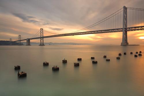 sanfrancisco bridge broken sunrise bay pier embarcadero