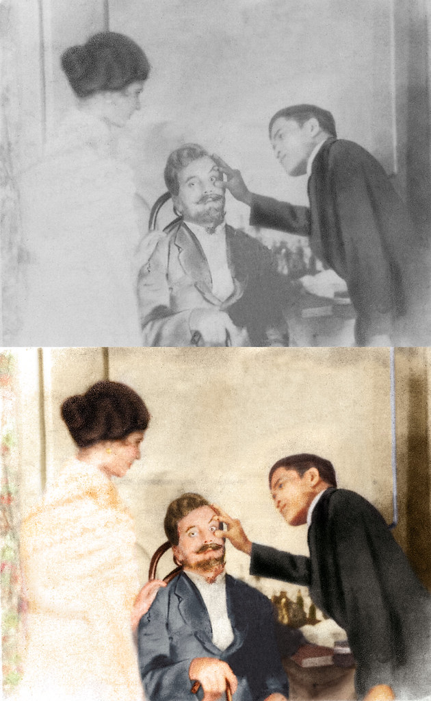 Dr. Jose P. Rizal, seen here treating a European patient as a lady watches on.