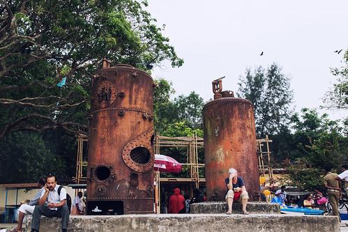 kochi kerala india in mobile users beach sunset old boilers muziris biennale