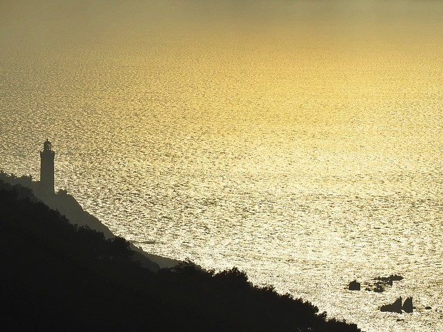Cap Spartel, Tangier - Morocco,  the  lighthouse to the afternoon & golden ocean.
