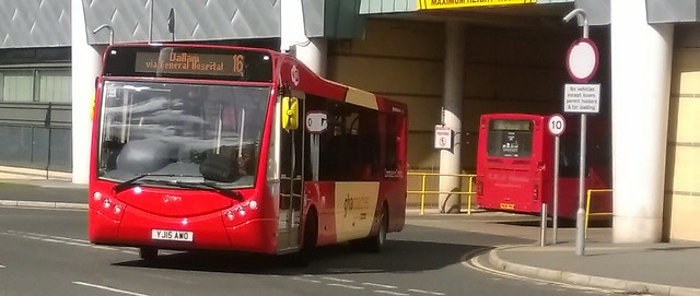 GHA Coaches (Winsford) Optare Metrocity (YJ15 AWO) and ex-Go Ahead Wright Renown (R848 PRG)