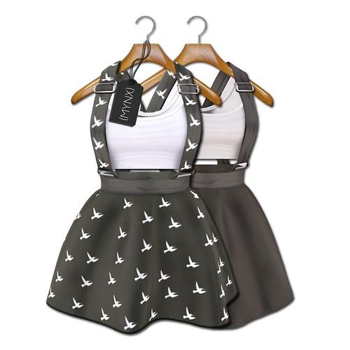 {MYNX} Suspender Dress - Gray Birds