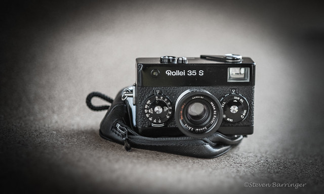 rollei 35s atop its pouch
