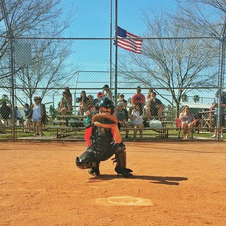 Outside corner.  #MRLLbaseball #littleleague #McCormickRanch #Scottsdale #catcher #americanflag #openingday | by CentralScottsdale