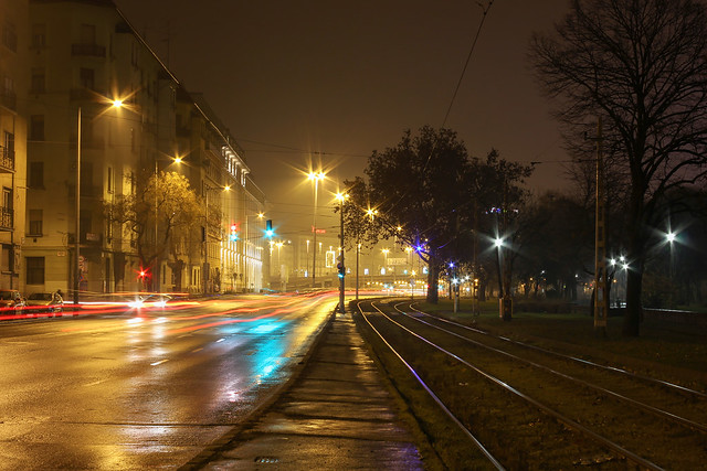 Budapest - looking from the Zsil street tram station to the Boraros square in a rainy night