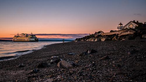 mukilteo washington whidbeyisland ferry possessionsound westcoast pacificnorthwest terminal transportation usa sunset beach rocky nikon dslr seaside seascape shore