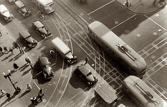 A view of the streetcars from the roof of the Willard Hotel in 1939 from 14th and Penn NW