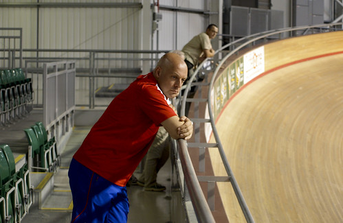 Dave Brailsford watching Team GB Training for the 2008 Beijing Olympics at Newport Velodrome | by jonskids