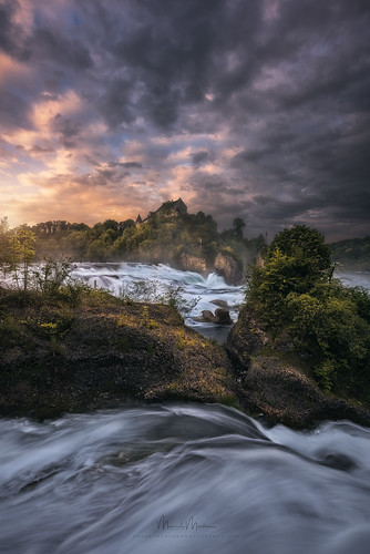 rheinfall schaffhausen switzerland drama enchanting fairytale foggy lightdrama magic forest grass rocks stones trees woods waterfall water cloudy morning sunrise neuhausen ch river rhein castle laufen dynamic vibrant manuelmartin sky moody