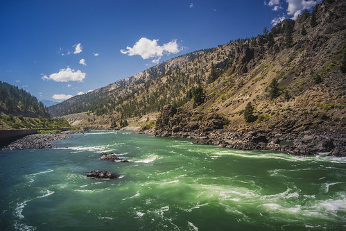 canada frasercanyon water desert bright blue contrast color colors colours colour clouds cloud britishcolumbia green heaven sky landscape land mountain mountainscape hills hill nature outdoors outdoor reflection rock rocks ripples sony sun wild wimvandem yellow golddragon cans2s simplysuperb