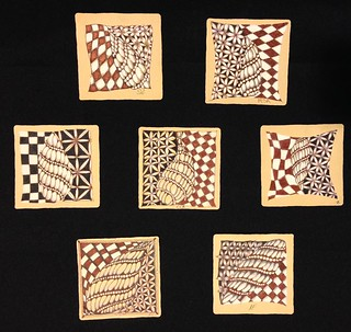 "Gorgeous student tiles from Saturday's ""Introduction to Zentangle Renaissance"" class in Windsor, Ontario. #zentangle #tangle #tangling #czt #laurelreganczt #art #classes #artclass #artclasses #draw #drawing #windsor #ontario #yqg #renaissance 