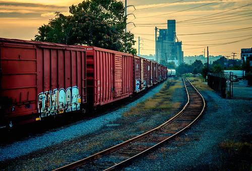 railroad art car yard train sunrise graffiti ride tag tracks rail richmond va railyard freight rva traveler trainhopping freighthopping benching