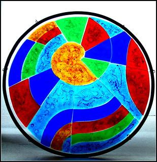 Jewel Coloured Nautilus_fused glass_bathroom_window | by amyorangejuice
