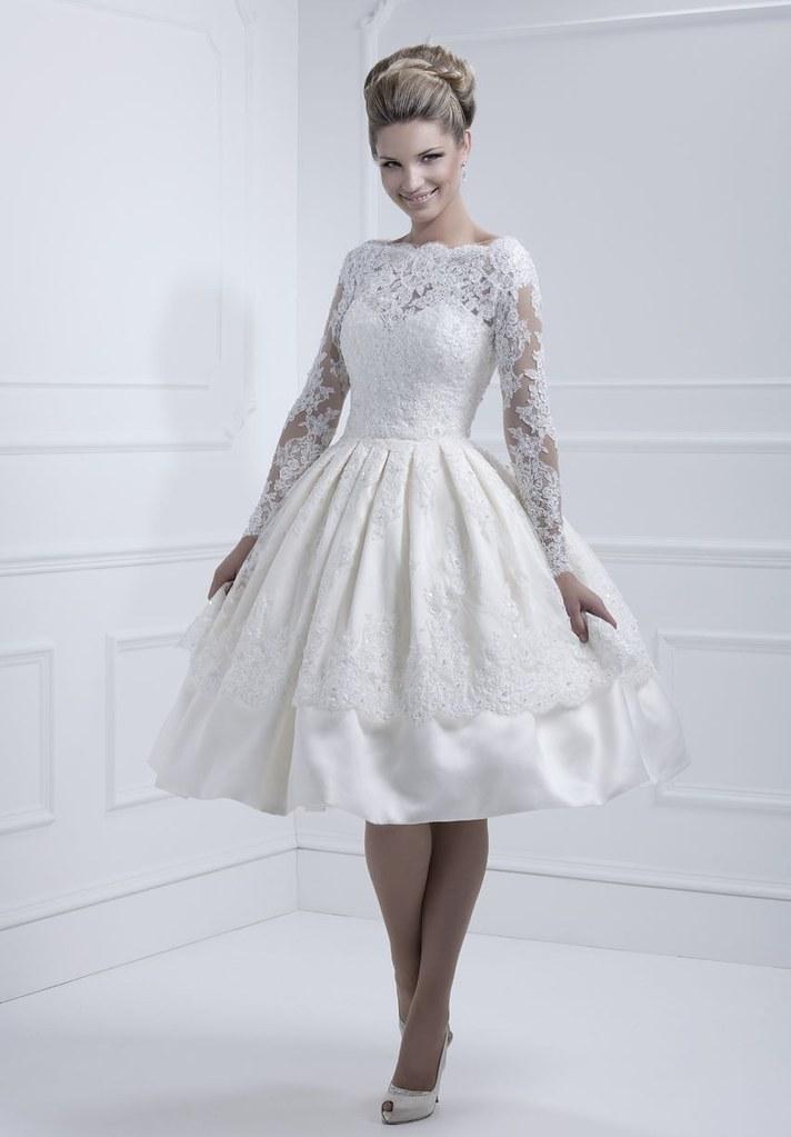 Taffeta And Lace Bateau Ball Gown Tea Length Elegant Vinta Flickr