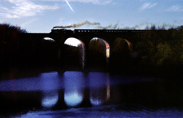 Entwistle Viaduct. 76079 makes for Bolton.