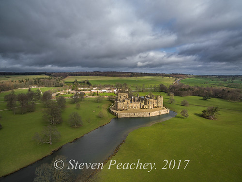drone aerial dji staindrop england unitedkingdom p3a djiphantom3advanced rabycastle castle countydurham stevenpeachey landscape sky clouds