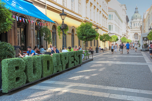 Budapest - written with big grass letters on the Zrinyi street, near to the Basilica (hdr)