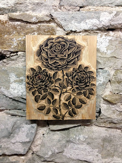 Pasadena onlays and carved wood onlays with rose design