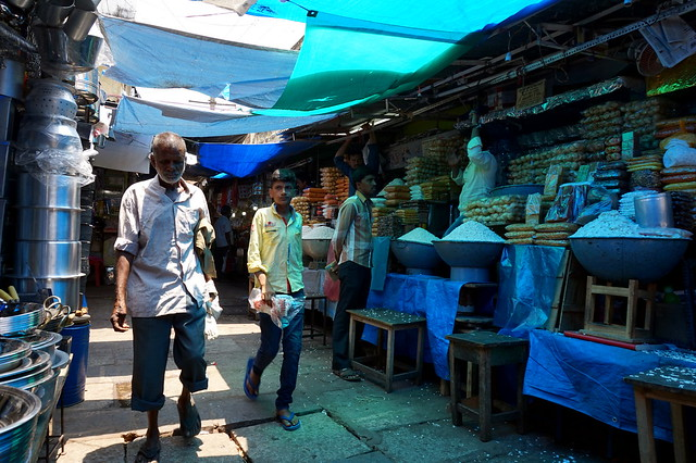 market in blue light