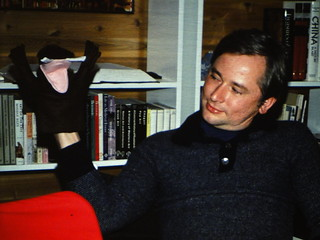 """John with """"Wally"""" the puppet"""
