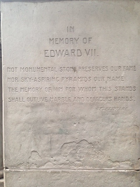 Shakespeare quote on Edward VII memorial at the Vancouver Art Gallery