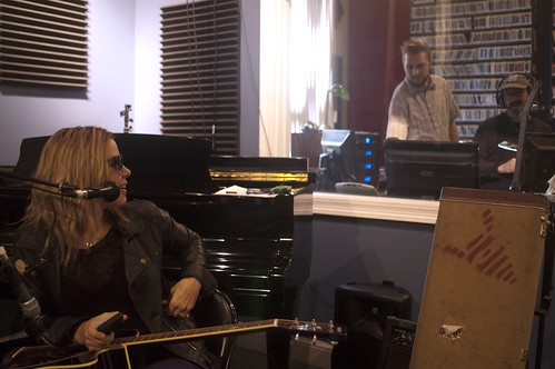 Maggie Koerner looks back at Russell Shelton and Ron Phillips in the studio. Photo by L Kasimu Harris