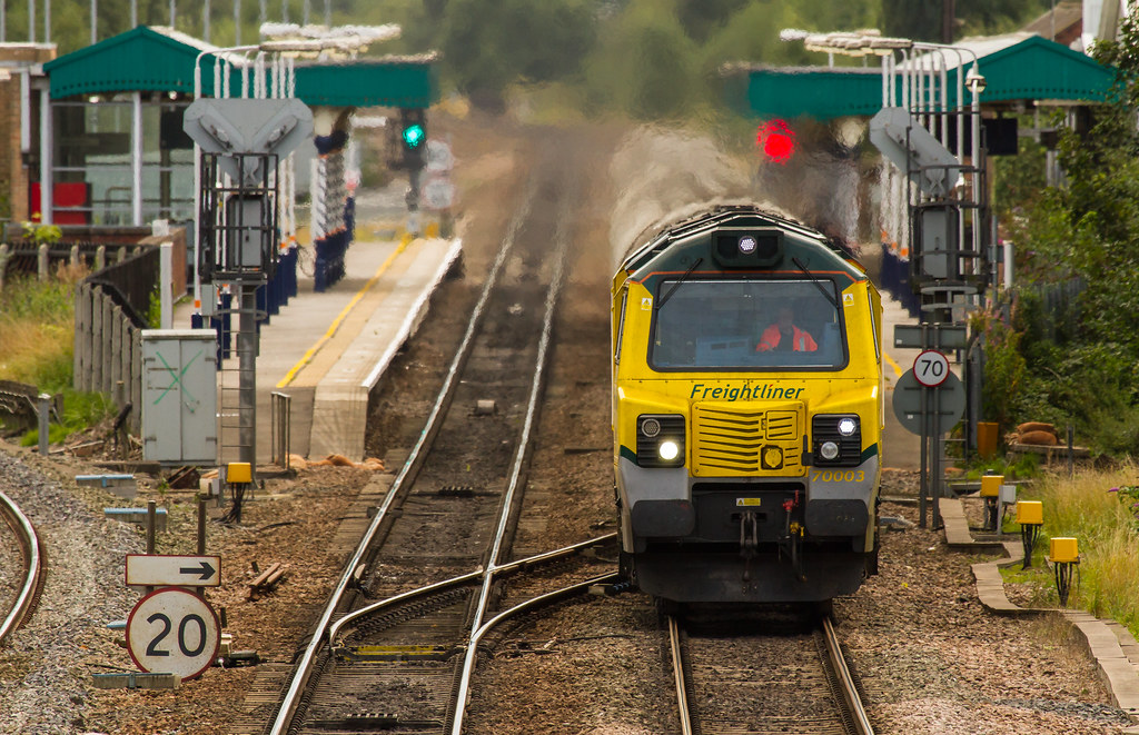 Freightliner Class 70 no 70003 accelerates through Chesterfield Station on 18th September 2013 by Kevin Frost