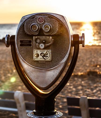 nj coinopbinoculars capemay binoculars ocean water shore sunsetbeach westcapemay newjersey unitedstates us