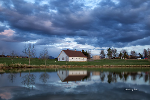 structure barn buildings farm trees clouds reds sky stormclouds reflections lake bozeman montana usa scenery scenic landscape landscapes outdoors water lens