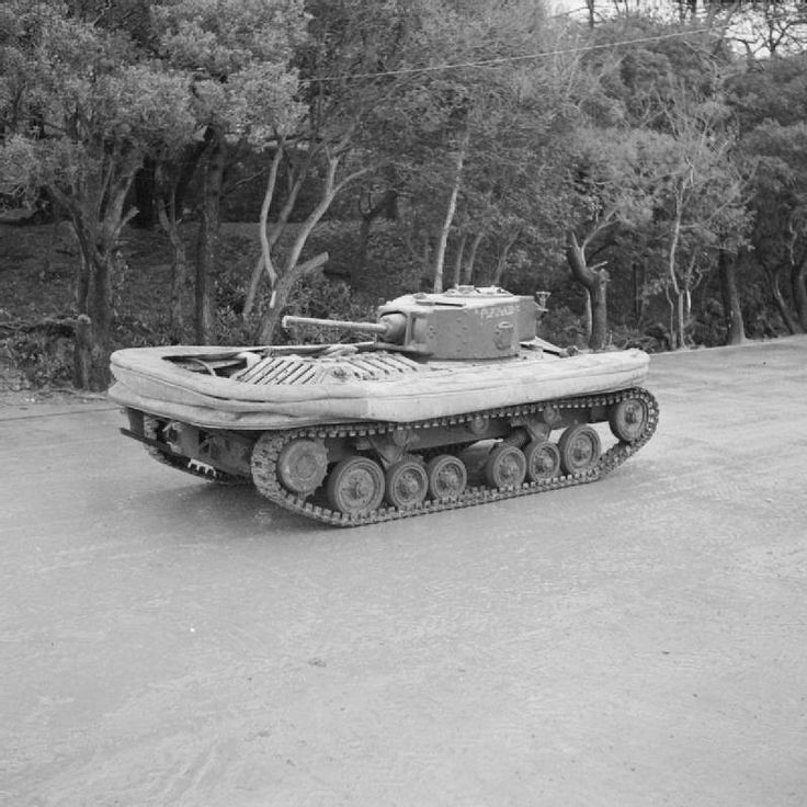 Valentine DD tank with screen lowered