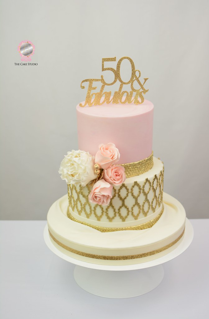 Pink and Gold 50th Birthday Cake | Lori-Ann Foley | Flickr