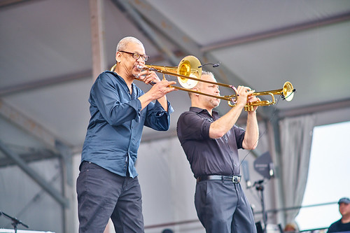 Lucien Barbarin and Mark Braud in Harry Connick Jr's band. Photo by Eli Mergel