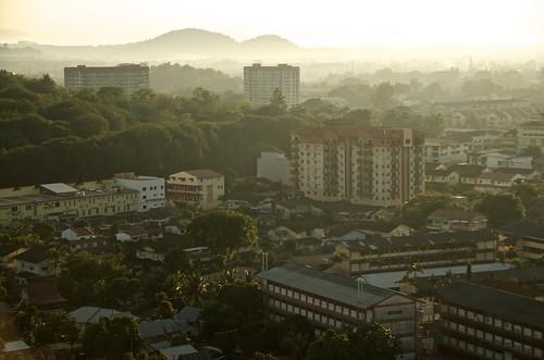 city morning light urban fog sunrise buildings asian early town hills malaysia melaka malacca hss