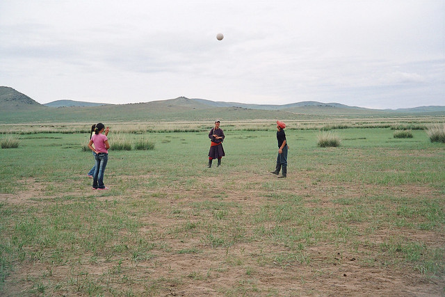 Central Asia, Mongolia, playing ball game