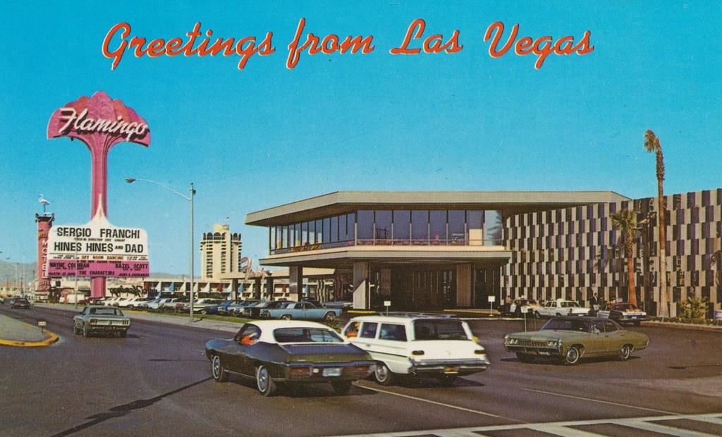Las Vegas on The Strip Postcard Flamingo Hotel and Casino Nevada Boulevard