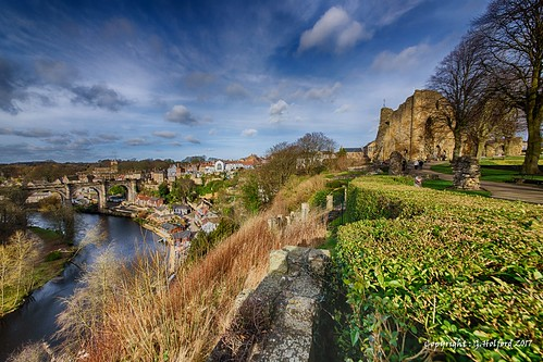 yorkshire knaresborough nikon d750 hdr bridge river view vista landscape castle clouds valley england uk keep stone britain greatbritain vale high wonderful north amazing highup elevated wide colour british english