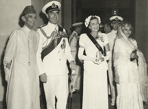 Lord and Lady Mountbatten, Jinnah and his sister, Fatima, 14 August 1947
