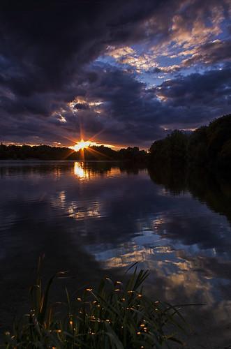 bridge sunset lake water clouds reflections neigh pentaxk5