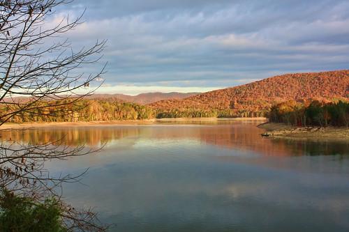 autumn trees lake mountains fall tennessee cherokeelake hawkinscounty