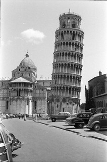 The Leaning Tower of Pisa in 1957