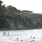 Cliff jumping at the North Shore, Oahu