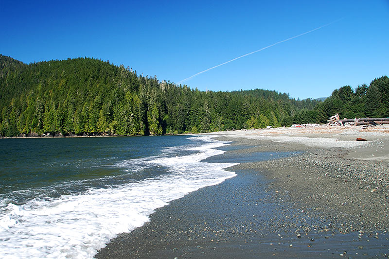 Beach at Pacheedaht Campground, Port Renfrew, South Vancouver Island, British Columbia